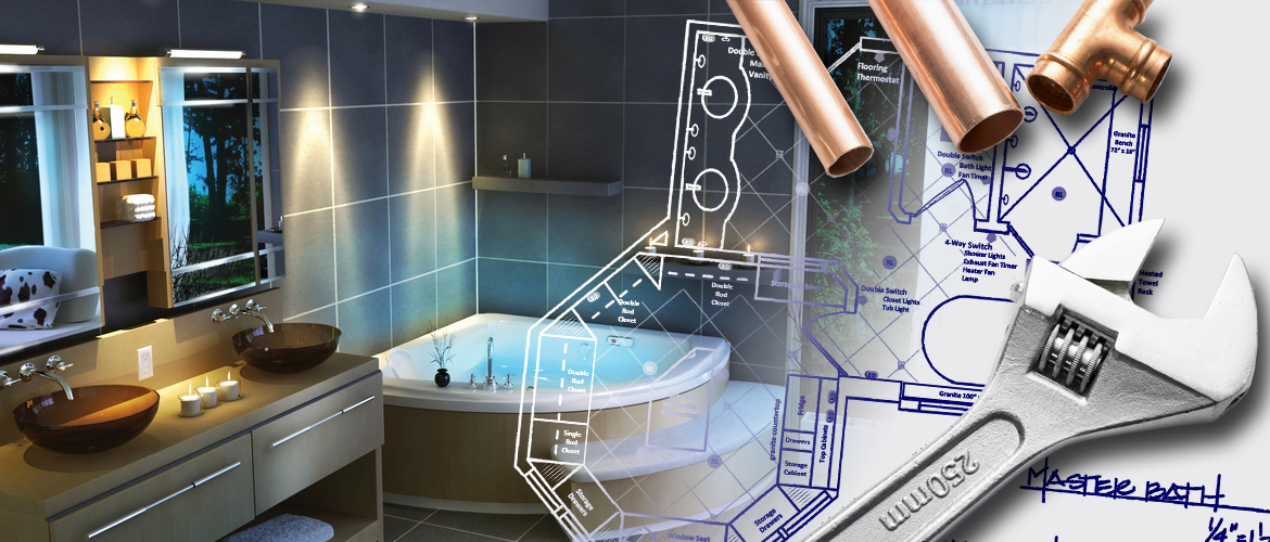 Contemporary master bathroom with hot tub, overlaid with plumbing blueprints, pipe fittings, and plumber wrench.